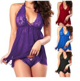2019 sei pezzi vestito Lingerie Abito in pizzo Babydoll Intimo femminile Pigiami indumenti da notte Taglie forti Corefly caldo