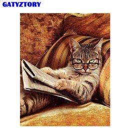 GATYZTORY Gato Pintura Diy Por Número Animais Acrílico Pintado À Mão Pintura Pelo Número Da Parede Da Arte Imagem Para Decoração Moderna Casa Gota de