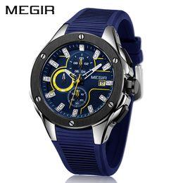 MEGIR мужчины спортивные часы хронограф силиконовый ремешок кварцевые армия военные часы Часы Часы мужчины Лучший бренд класса люкс мужской Relogio Masculino cheap megir luxury sports watch от Поставщики спортивные наручные часы megir
