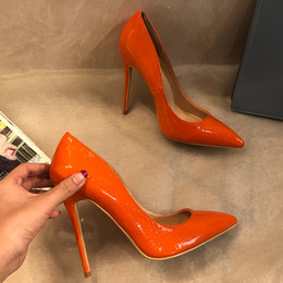 Bombas de salto baixo laranja on-line-Frete grátis moda feminina Designer de Marca Nova orange leather point dedo do pé de salto alto bombas de sapatos Stiletto 33-43 cm 12 cm 10 cm Casual sapato