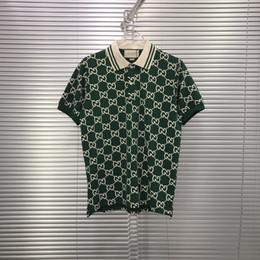 2019 sueter cashmere hombres xxl 2020SS italiana de la manera europea reciente de calidad superior de alta mixto de algodón carta llena camiseta de la impresión de la solapa de la calle delgada salvaje verde superior de los hombres de