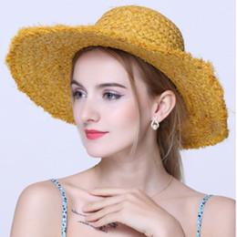 cappelli eleganti per la spiaggia Sconti Fashion Summer Women Natural Rafia Straw Hat Sun Girl Wide Brim Dome Benna Hat Elegant Lady Pieghevole sunbonnet Beach Hats