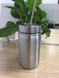 Bierdosen online-17 Unzen Edelstahl Vakuum Einmachglas Doppelwandigen Einmachglas mit Deckel Stroh 17 Unzen Kaffee Bier Saft Becher Maurer Dosen trinken sippy Tasse