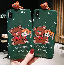 Orso marrone di iphone online-Scudo 3D Per iPhone 6 7 8 plus Custodia Marrone orso gufo Telefono morbido shell 5S 5 SE Coque XS MAx XS XR Oppo Vivo huawei