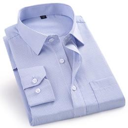 Camicie viola scozzese online-Camicia a maniche lunghe scozzese casual da uomo di alta qualità maschile Regular Fit Blu Viola 4XL 5XL 6XL 7XL 8XL Taglie forti