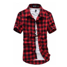 camisa masculina vermelha de xadrez preto Desconto Camisa xadrez vermelho e preto homens camisas 2019 novo verão moda Chemise Homme Mens xadrez camisas de manga curta camisa homens blusa