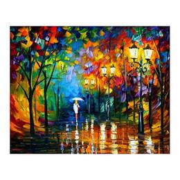 """marcos de pared de tres piezas Rebajas 24 """"* 36"""" Lienzo pintado a mano decoración mural parejas románticas caminan por el bosque del bosque paisaje estudio sala porche decoración"""