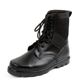 mens tobillo botas correas Rebajas Botas de cuero para hombre del ejército táctico Correa de tobillo Botas militares de combate cómodas y transpirables Zapatos de seguridad con puntera de acero Tamaño 34-46