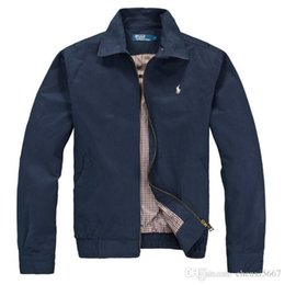 Giacca a vento polo online-POLO Fashion Jacket Casual Giacca a vento manica lunga in misto cotone Mens Giacche Zipper Pocket Animal Flower Lettera Pattern