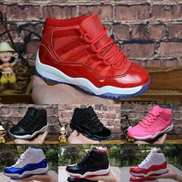 f39ebec1c2a Nike Air Jordan 11 2018 crianças 1 s tênis de basquete crianças menino  menina 1 top 3 criado preto vermelho branco tênis crianças presente de  aniversário ...