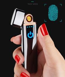 Ligero ultra delgado online-Encendedor de carga ShuoboZD Encendedor táctil a prueba de viento electrónico ultrafino USB encendedor de cigarrillos Metal personalizado