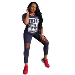 2019 leggings estilo street Negro Por populares Cartas de demanda Impreso Mujeres Chándal Apliques Conjuntos de dos piezas Camiseta + Pantalones Leggings SummerSports Street Style C72203 leggings estilo street baratos