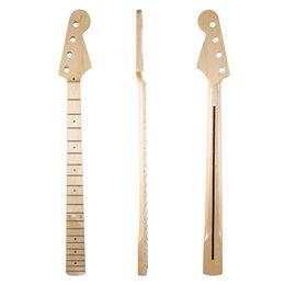 Cuello de guitarra con incrustaciones de abulón online-Bajo 20 trastes 4 cuerdas P bajo mástil de arce canadiense con incrustaciones de concha de abulón y tuerca para bajos precisos