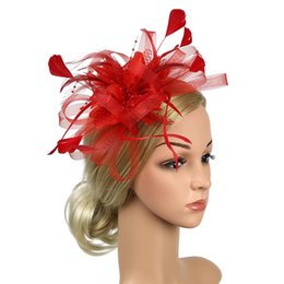 a880c955 Feather Mesh Fascinator Headband Banquet Women Wedding Bowknot Cocktail  Bridal Party Hat Hair Accessory Fedoras Gift