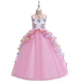 Ropa esponjosa online-Venta al por menor vestidos de niña unicornio mullido bordado de flores largo vestido de princesa vestidos formales de baile vestido de fiesta de los niños cosplay ropa