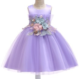 Mejores vestidos de novia chica online-Best Selling Girls Dress Fiesta de Navidad Vestido de fiesta Vestido de novia Vestidos de princesa Vestidos de niños con flor XF10