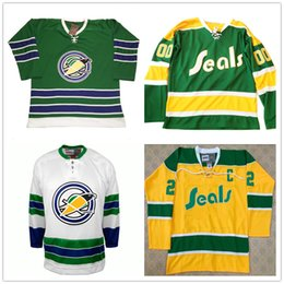 Usura dorata online-Personalizzato NCAA California Golden Seals 1970-1974 Customized hokey Jersey Oakland San Francisco Collegio Hockey veste cucita su misura Marchio