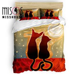 2020 reina del edredón del gato MISSHOUSE Cat Lover Silhouette Juego de funda nórdica Sábanas de animales de dibujos animados Funda de almohada Fundas de almohada 4pcs Juegos de cama rebajas reina del edredón del gato