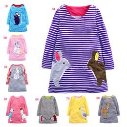 Vestido de patos online-Conejo chico de rayas de vestir ropa de primavera y verano del algodón del otoño vestido de animal Rata ciervos Pato manga larga vestidos de los niños Ropa regalos FFA3670
