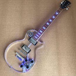 cordes de piano Promotion Coin acrylique guitare électrique 6 cordes, la tête de piano érable et le corps acrylique transparent et la lampe à LED, livraison gratuite