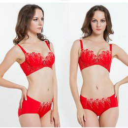 6776505745 75C 3 Colors Lot Women Bra and Panty Sets Gorgeous Embroidery Lace Lingerie  3 4 Cotton Push-up Cup Brassiere Bra Brief Sets