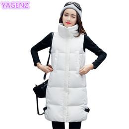 Chalecos de invierno blanco para mujer online-YAGENZ otoño invierno chaleco largo de bata blanca para mujer de la chaqueta del chaleco de ropa Mujeres Abajo mujeres de la manera delgada del algodón de algodón 285