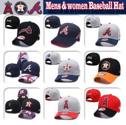 Atlanta brave chapeaux en Ligne-Hommes femmes Houston # Los Angeles # Atlanta Tricot de haute qualité casquette de baseball Astros Angels Braves Baseball Hat