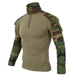 Рубашка с длинным рукавом онлайн-Камуфляжная армейская футболка Men Us Ru Soldiers Combat Тактическая футболка Military Force Multicam Camo Футболки с длинным рукавом J190528