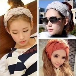 cappellino di treccia Sconti 1PC inverno intrecciato lana caldo turbante fascia donne capelli fasce avvolgere accessori per le donne Headwrap ragazze copricapo