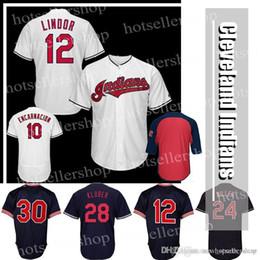 indische logos Rabatt Cleveland Baseball Jerseys Indianer 12 10 Edwin Encarnacion 24 30 Joe Carter 28 Stickerei-Logos
