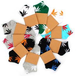 Calcetines bajos para los hombres online-Hombres Mujeres escotados calcetines con la impresión de las hojas de algodón unisex monopatín barco de la nave del calcetín