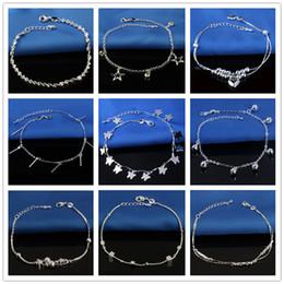 15 stili di vendita calda timbrato 925 cavigliere in argento sterling per le donne semplici perline catena d'argento catena piede catena gioielli da braccialetto di campana indiano fornitori