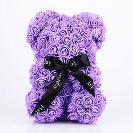 Bambole fatte a mano di nozze online-Rose Bear Dolls Pe Artificiale Rose Handmade Romantic Lover Flower Love Toy Festa delle madri Regalo di nozze Fai da te 27 cm Box Ramadan Decor C19041803