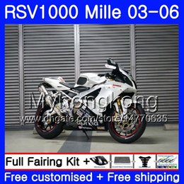 Aprilia белые черные обтекатели онлайн-Кузов For Aprilia белый черный RSV 1000R 1000 RV60 Mille 2003 2004 2005 2006 316HM.41 RSV1000RR RSV1000R RSV1000 R RR 03 04 05 06