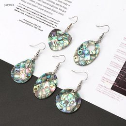 paua shell pendants Promo Codes - Natural Dangle Hook Earrings Paua Abalone Shell Bead Pendant Women Earrings Hanging Fashion Jewelry