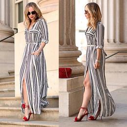 Vestido largo de rayas verticales online-Vestido largo de playa casual con rayas verticales y rayas sexy para mujer