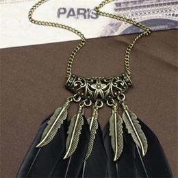 Indische ethnische halskette online-Mode BOHO Ethnic Indian Style Feder Halskette Vintage Retro-Ketten-Halskette Mode-Anhänger Frauen Schmuck
