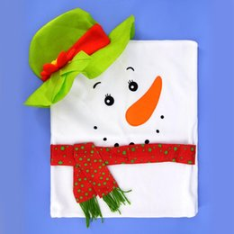 candle factories Promo Codes - New Year Christmas Warm Gift for Home Restaurant Banquet Party Tableware Decoration Factory Outlet Couple Snowmen Chair Cover