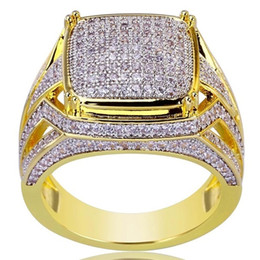 Diamanti in oro giallo online-Luxury Plated 18k Yellow Gold Anello quadrato riempito naturale pietra preziosa White Sapphire Diamond Ring Wedding proposta sposa Men Ring