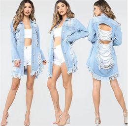 2019 chaqueta de lentejuelas con capucha Las mujeres jeans rasgados chaqueta de manga larga solapa del cuello lavados desgastados de manera ocasional abrigos de primavera las mujeres Outwear