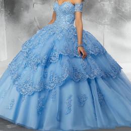 2019 top bleu 15 robes Robe de bal Quinceanera de bal en dentelle bleu ciel modeste en dentelle de paillettes appliques en tulle sur l'épaule