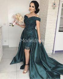 Elegante elegante vestidos de noite on-line-Elegant Prom Dresses 2019 Com Trem Destacável Off The Shoulder Design Exclusivo Formal Evening Party Vestido Stylish Chic Ocasião Especial Vestido