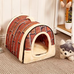 cestini per animali da compagnia Sconti Soft Folding Pet Dog Cat Bed House Kennel Doggy Cesto caldo S / M / L portatile in vendita