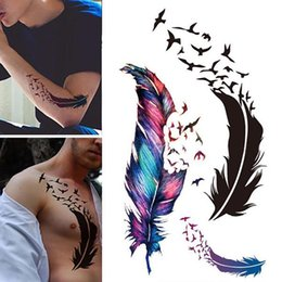 9e3ddf996 1Pc New Fashion Unisex Geese Feathers Arm Back Tattoo Sticker Water  Transfer Paper Waterproof Temporary Body Art