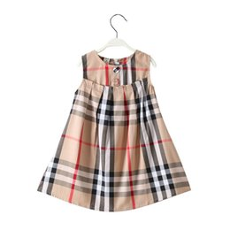 wholesale little girls ruffle shorts Coupons - INS Stylish Little Kids Girls Plaid Dreeses 100% Cotton Round Collar Front Bow Back Zipper Summer Children Girls Princess Party Dress 3-7T