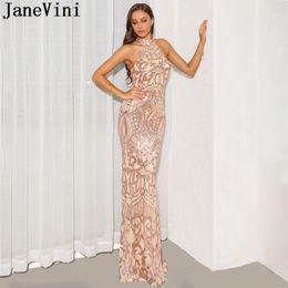 JaneVini robe or rose longues robes de bal Bling paillettes licol élégante sirène tapis rouge robe robes de soirée sexy dos nu 2019 ? partir de fabricateur