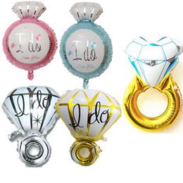 anillos de oro multicolor Rebajas Venta al por mayor 2018 Venta caliente I Do Diamond Ring Globo de helio oro plata de gran tamaño Foil Balloons Wedding Engagement fiesta de cumpleaños decoración