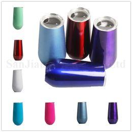 2020 botellas de agua de acero para niños 6 oz de acero inoxidable hueveras vino tazas de cristal Mini Kids Milk Cup Con A122601 tapa de vacío botella con material aislante al aire libre Senderismo agua 16colors DHL rebajas botellas de agua de acero para niños