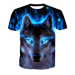 Brilham no camisa escura on-line-Novelty 3D men wolf t-shirt Cool wolf Printed t shirts summer 3D Short Sleeve Glow in the Dark T-shirts good quality WGTX170