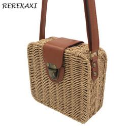 Небольшой соломенный тотализатор онлайн-Rerekaxi ручной работы конфеты цвет женщины соломенная сумка женские маленькие сумки на ремне богемия пляжная сумка Crossbody сумки дорожная сумка Tote J190715